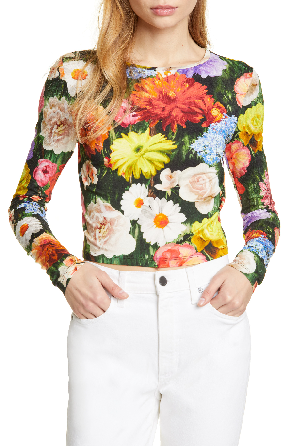 639882ebd73b1c Alice And Olivia Delaina Floral-Print Long-Sleeve Crop Top In Blooming  Fields Multi
