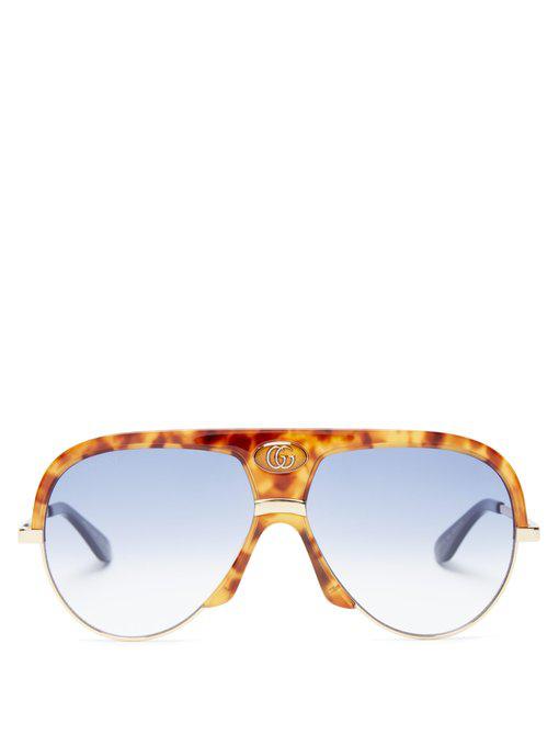 23ba0a753fa6b Gucci Oversized Tortoiseshell-Acetate Aviator Sunglasses