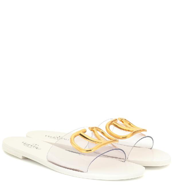 fab709d0ca94 Valentino Go-Logo Transparent Slider Sandals In White