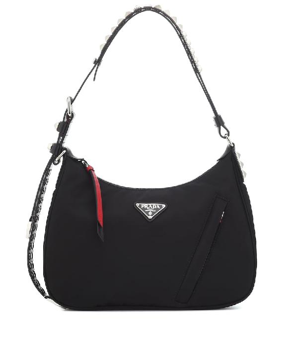 a825c15bc6869d Prada New Vela Nylon Shoulder Bag W/ Studs In Black | ModeSens