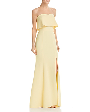 ec8c5ef365d8b Avery G Strapless Crepe Gown In Lemon | ModeSens