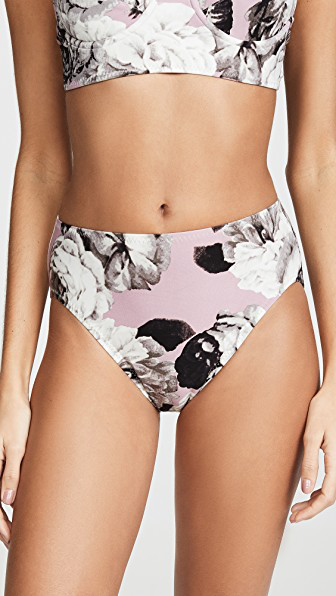 a68e617da524d Norma Kamali High Waisted Bikini Bottoms In Pink Peonies | ModeSens