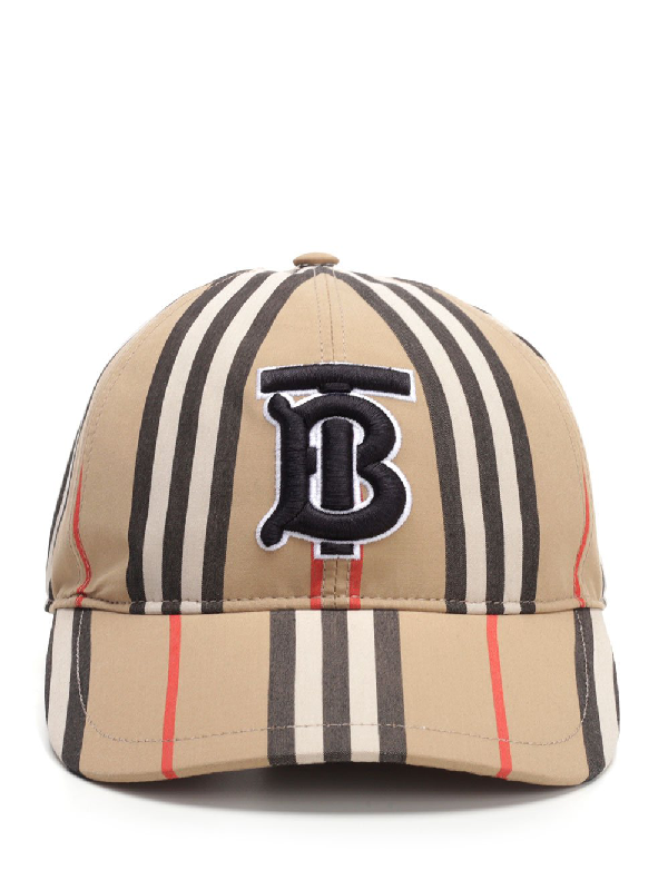 Burberry Icon Stripe Logo-Embroidered Cotton Baseball Cap In Neutrals