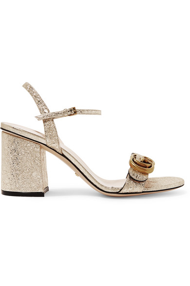 27d368fbd54b Gucci Marmont Logo-Embellished Metallic Cracked-Leather Sandals In Gold