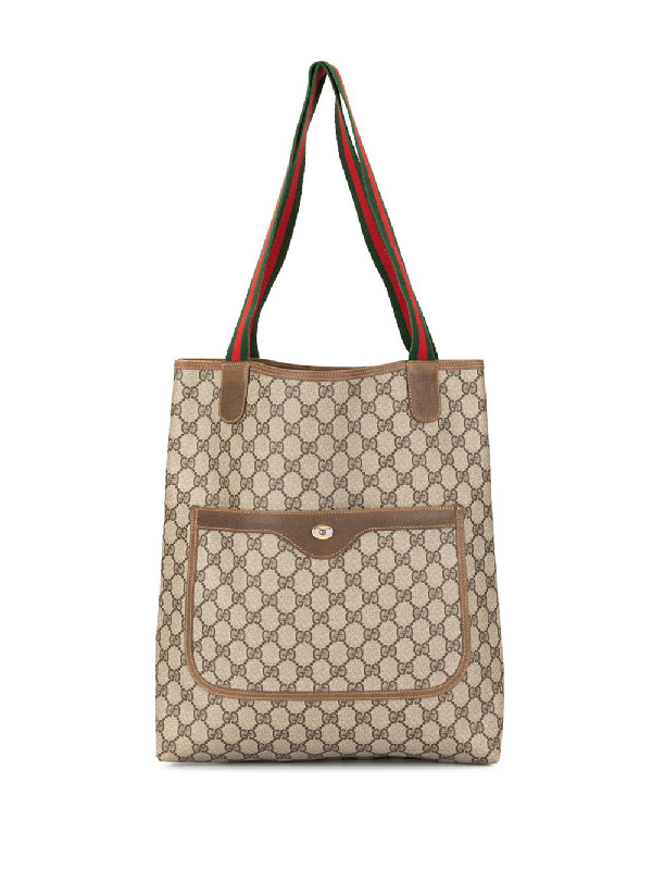 29fc363f4b9a4e Gucci Pre-Owned Shelly Line Gg Pattern Shoulder Tote Bag - Brown ...