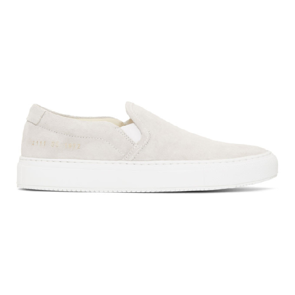 be53fd3eddc9 Common Projects Woman By Grey Suede Slip-On Sneakers In 7543 Grey ...