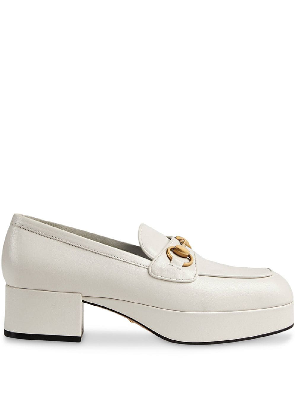 e6d683388 Gucci Leather Platform Loafer With Horsebit In White
