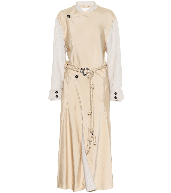 6a81ab9591 Fluid Twill Ankle-Length Trench Coat in Neutrals