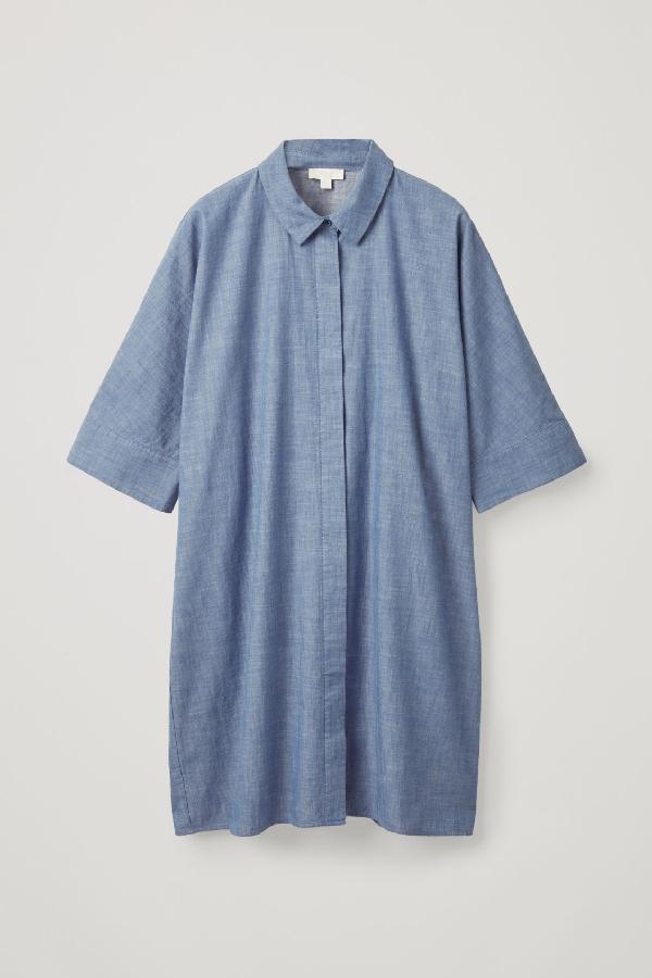 ce2a8aaed44 Cos Boxy Denim Shirt Dress In Blue
