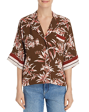 Joie Bayley Tropical Print Stripe Contrast Top In Fatigue