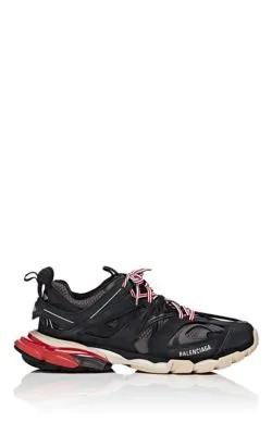 Balenciaga Low-Top Sneakers Track Nylon Polyester Polyurethane Logo Black Grey Red In 1002 Black