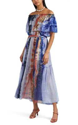 c48376b4cd2 Raquel Allegra Tie-Dyed Washed Silk Voile Off-The-Shoulder Dress In Multi