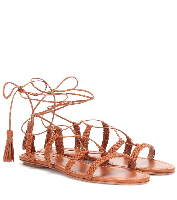 d3c97c07bf2 Aquazzura Stromboli Leather Sandals In Brown