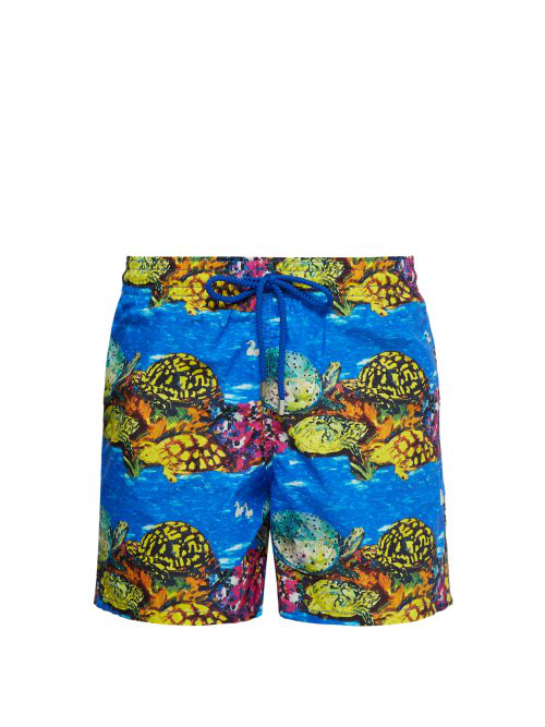 e049cf9a64 Vilebrequin - X Hunt Slonem Moorea Turtle Print Swim Shorts - Mens - Blue  Multi