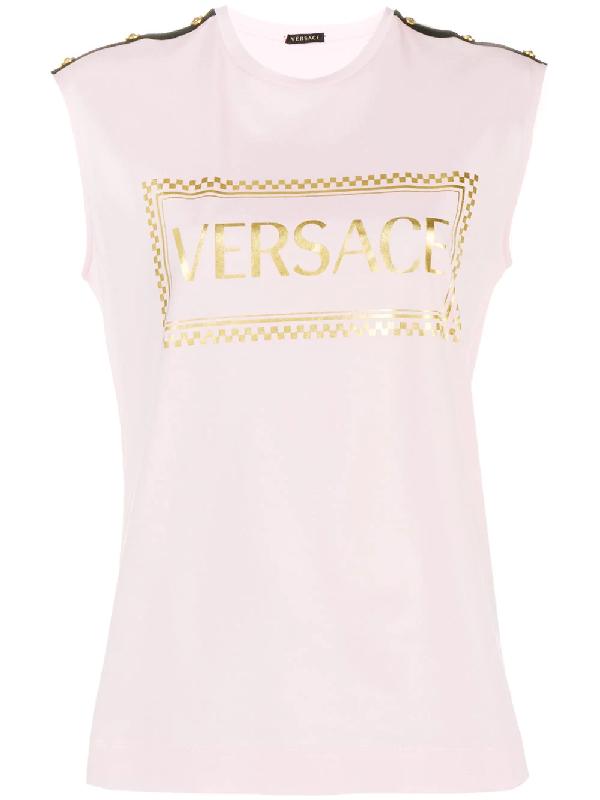 49f55425 Versace Laminated 90S Vintage Logo T-Shirt In Pink | ModeSens