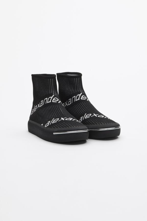 Alexander Wang 20Mm Pia Logo Knit Sock Sneakers In Black