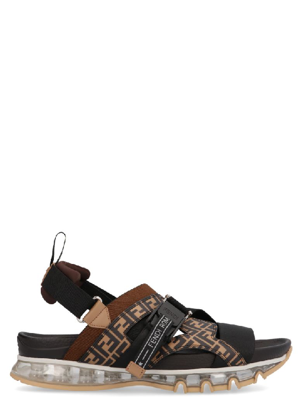 cbd6a9f17206 Fendi Logo-Print Leather And Webbing Sandals - Dark Brown In Black ...