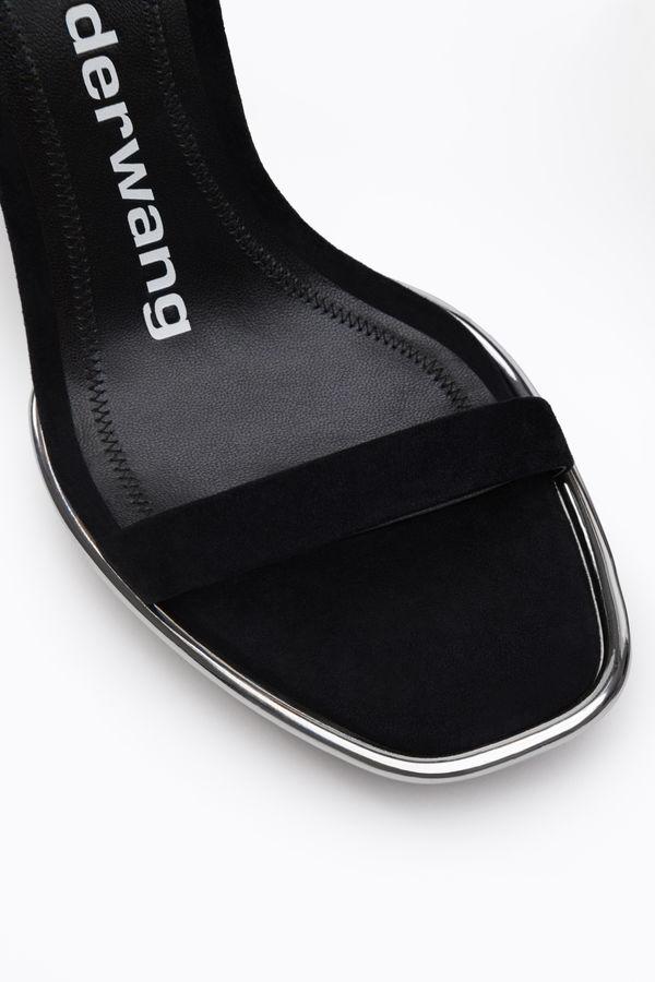 Alexander Wang Cady Metallic-Trimmed Suede Platform Sandals In Black