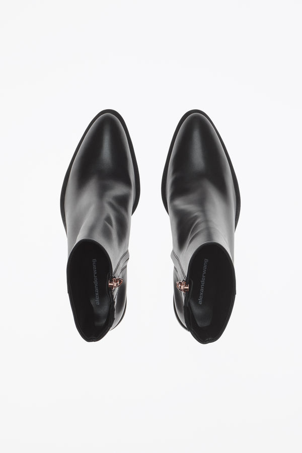 4214478eddce Alexander Wang Anna Block-Heel Leather Booties - Rhodium-Tone Hardware In  Black