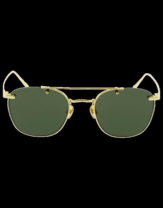 35e942ccde3 Linda Farrow Brow Bar Round Sunglasses In Yllwgld