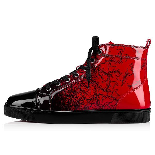 5777f984354 Men's Louis Ombre Patent Leather High-Top Sneakers in Black/Loubi