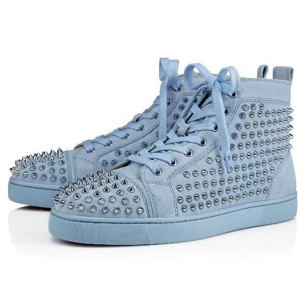 3a0008998b3 Christian Louboutin Men s Louis Spike-Studded Suede Sneakers In Sky Sky  Metal