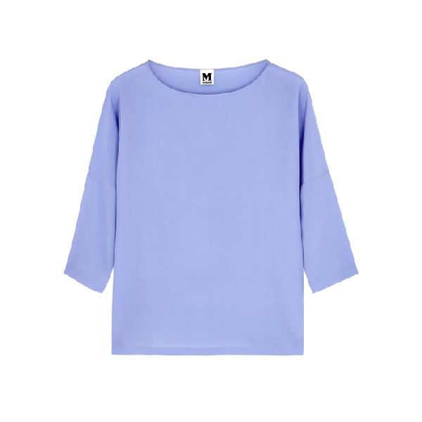 82a723944c57a M Missoni Periwinkle Silk Crepe De Chine Top In Light Blue. Harvey Nichols