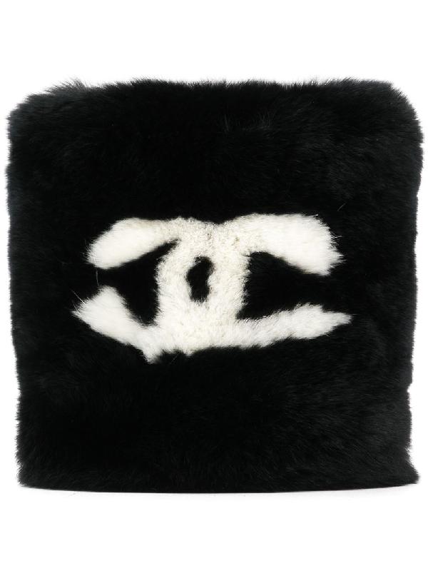 3ad21fb16c73 Chanel Pre-Owned Cc Logos Lapin Rabbit Fur Bracelet - Black | ModeSens
