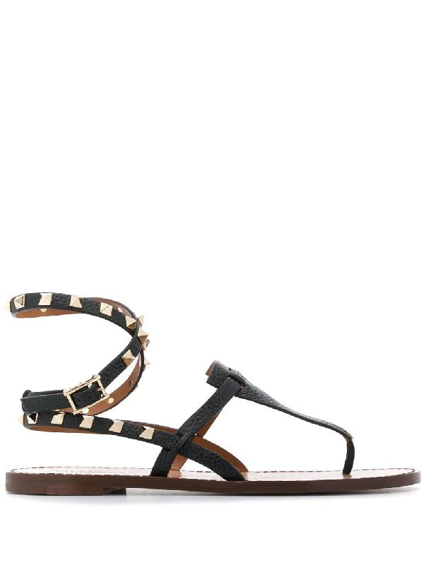 c56889f908 Valentino Garavani Rockstud Sandals - Black | ModeSens
