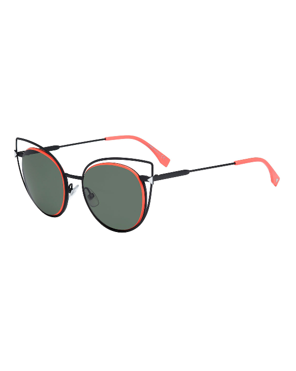 2b2836d993ec5 Fendi Round Wire-Rim Sunglasses In Black
