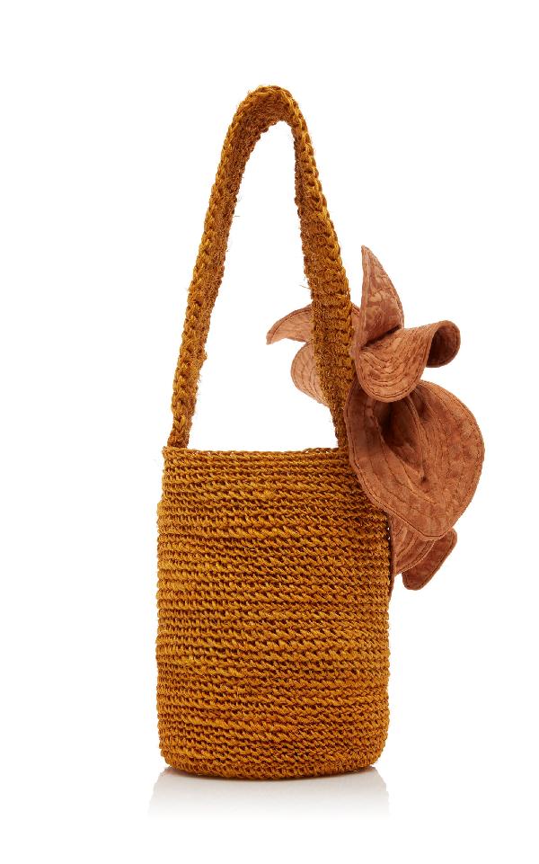 Johanna Ortiz Distrito Salvaje Medium Crochet Bucket Bag In Orange