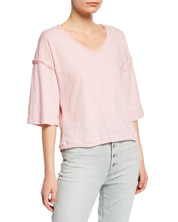 972bfd6e Counting Dreams Carol V-Neck Half-Sleeve Baseball Tee In Light Pink ...