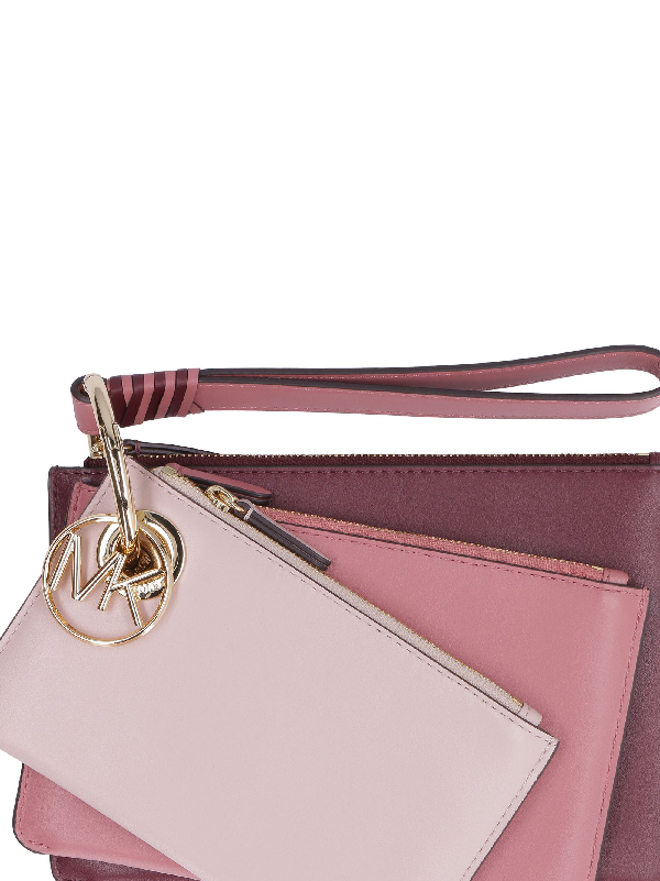 5d22dc81a53f Michael Kors Tri-Color Leather Pouch-Trio In Pink | ModeSens