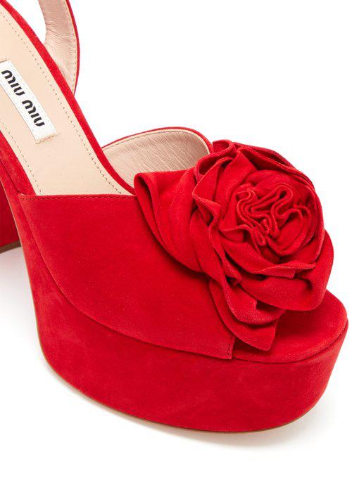 f2c9ca18e5 Miu Miu Flower-AppliquÉD Suede Platform Sandals In Red   ModeSens