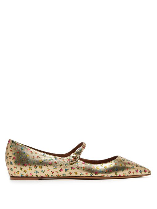 bbd704e067e4f Tabitha Simmons Hermione Floral-Print Leather Mary Jane Flats In Gold Multi