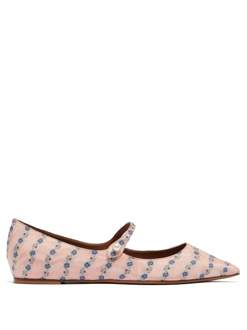 39277e782f471 Tabitha Simmons Hermione Floral-Jacquard Mary Jane Flats In Light Pink
