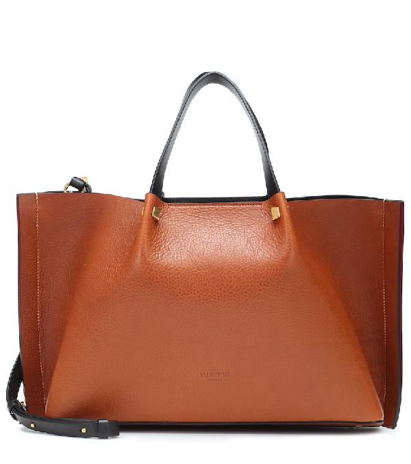 54c76cf231d Valentino Vlogo Escape Medium Leather Shopper In Brown | ModeSens