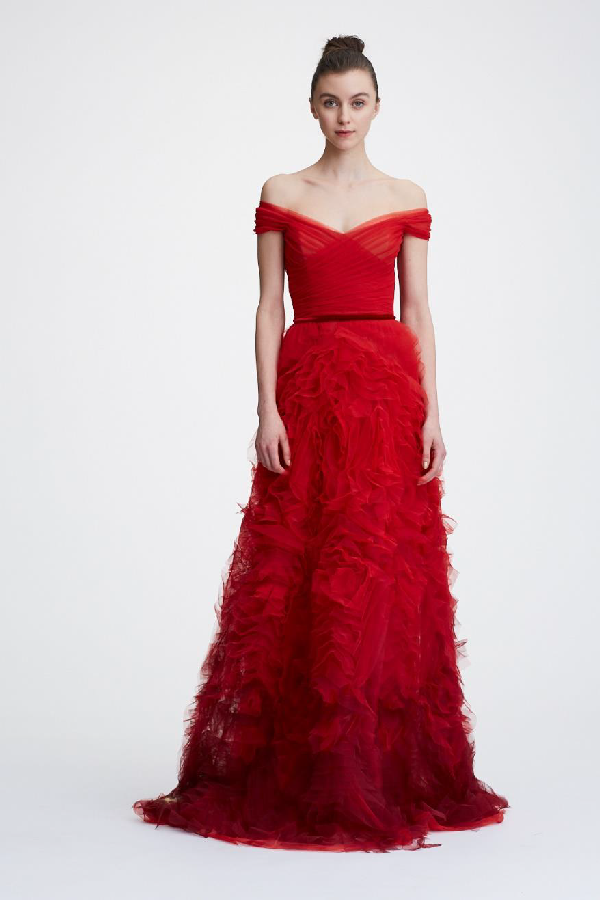 74c3c59d Marchesa Notte Off-The-Shoulder Textured Gown In Red | ModeSens