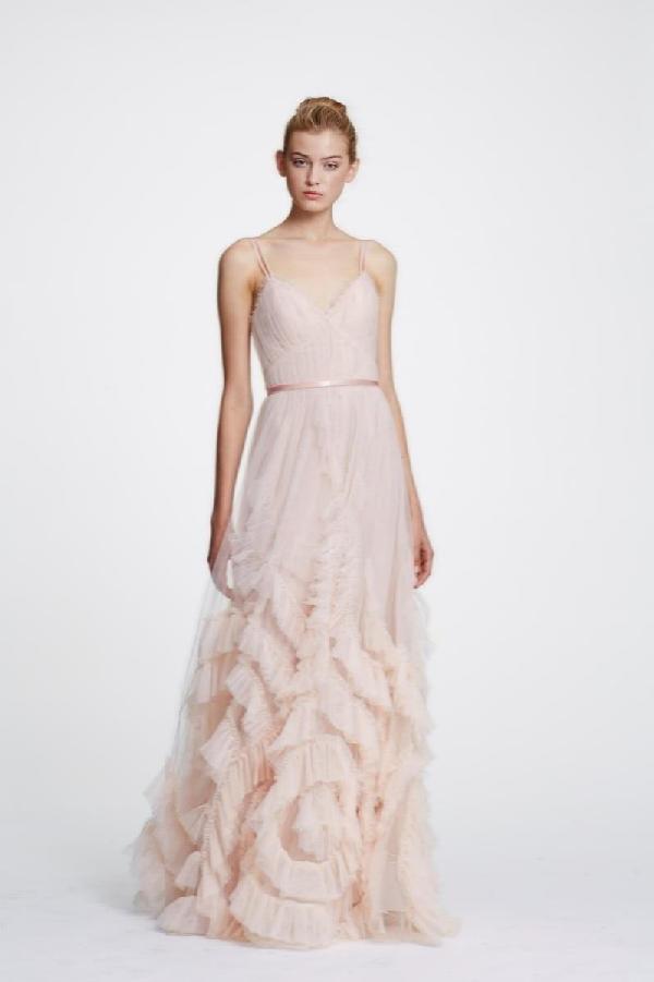 b48b5fe7 Marchesa Notte Sleeveless Ruffled Tulle Gown In Blush | ModeSens