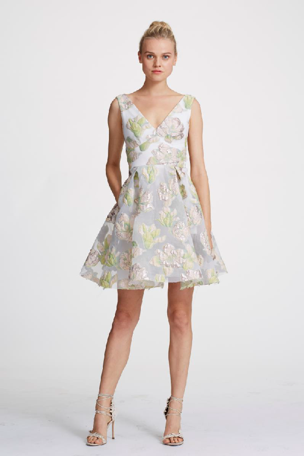 0d9f4b3b3e Marchesa Notte Spring 2019 Sleeveless Metallic Floral Cocktail Dress In  Ivory