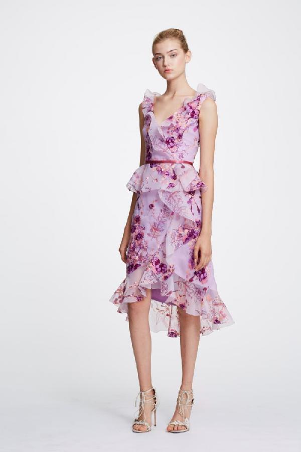 a0a9e7b49b Marchesa Notte Sleeveless V-Neck Floral Organza Peplum Dress W/ Ruffle Trim  In Lilac