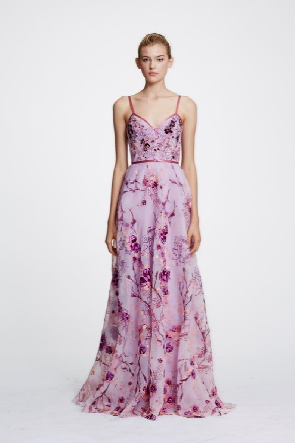 f108d161bb Marchesa Notte Spring 2019 Sleeveless Floral Organza Evening Gown In Lilac