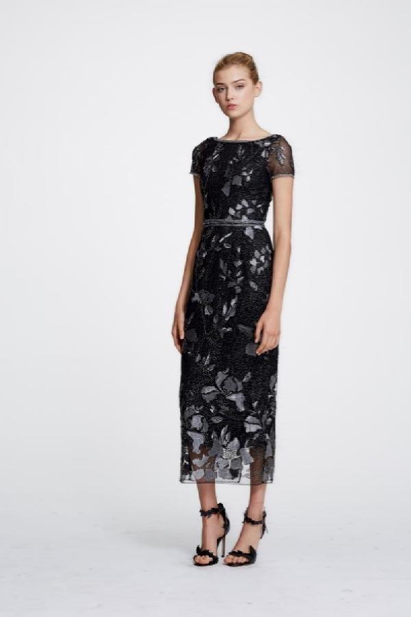 9b6cf1bc83 Marchesa Notte Short-Sleeve Metallic Floral Embroidered Sheath Dress W/  Beaded Trim In Gunmetal