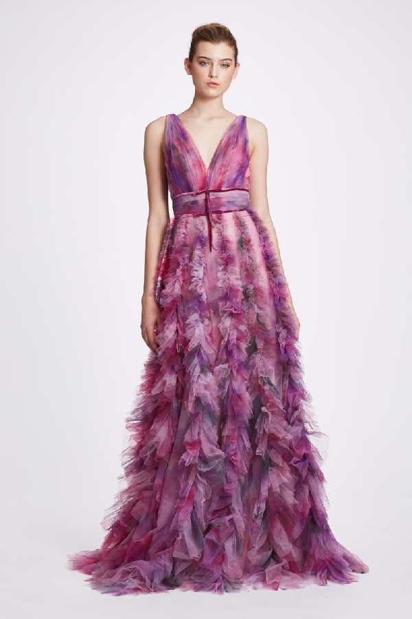 c22cc4e934 Marchesa Notte Sleeveless Textured Tulle Gown N34G1012 In Mauve ...