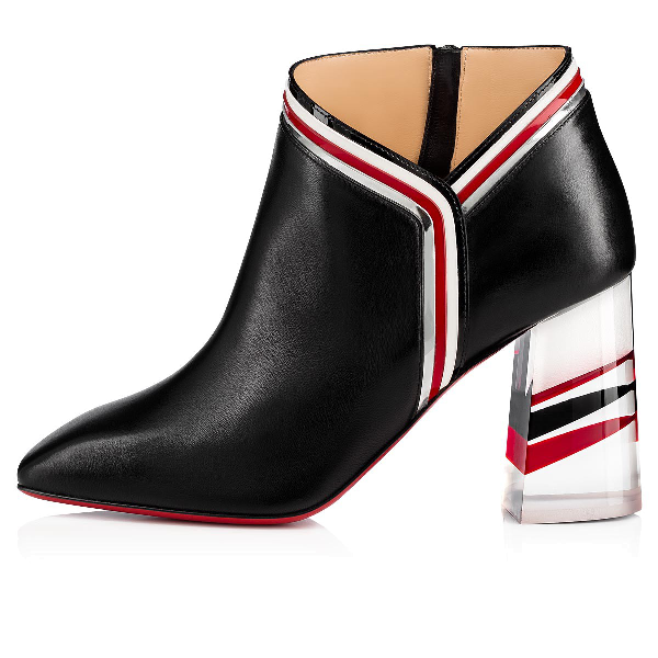 Christian Louboutin Raniboot 85 Plexi-Heel Red Sole Booties In Version Black/Loubi