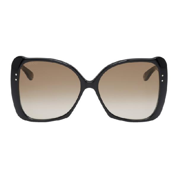 c7b15b286f62 Gucci Black Oversized Butterfly Sunglasses In 001 Black   ModeSens