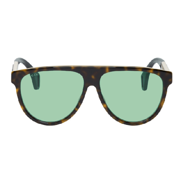 1284061a00c Gucci Tortoiseshell Oversized Pilot Sunglasses In 212 Hvngree