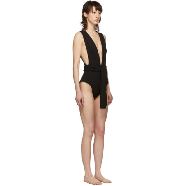 ca075888d73 Haight Black Crepe Band V One-Piece Swimsuit