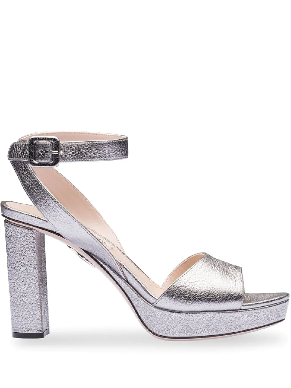 8bdd58e68c53 Miu Miu Block-Heel Sandals - Metallic