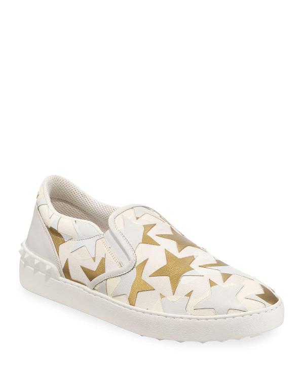 eae766e7e0c6e Valentino Men's Camo Star Slip-On Sneakers In Bianco Oro   ModeSens
